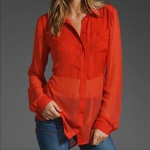 Free People Red Button down Blouse size M